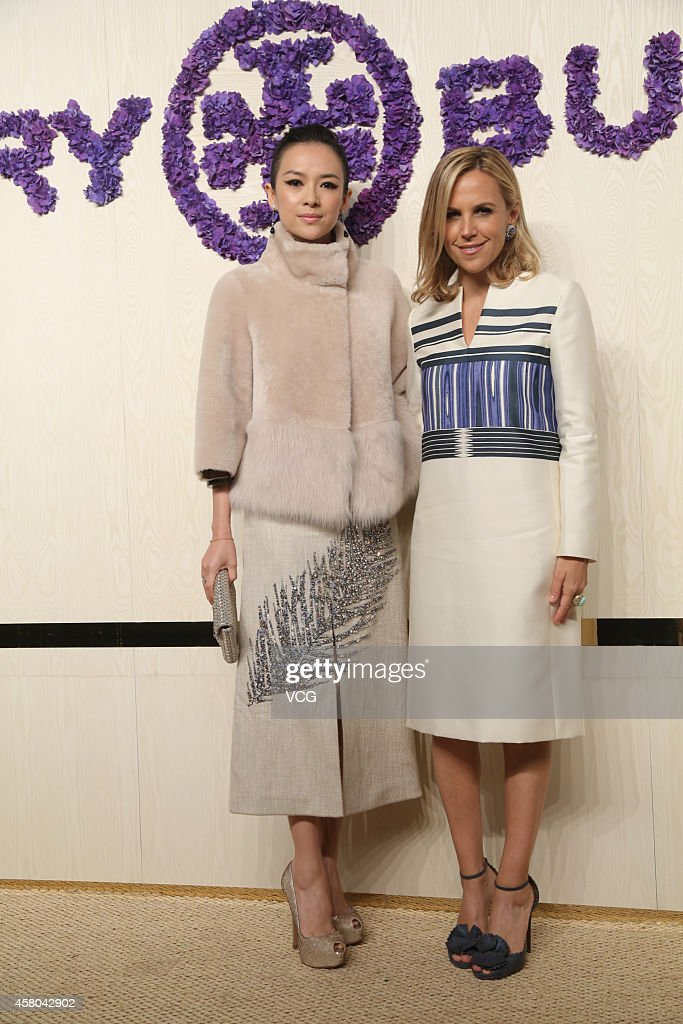 Actress Zhang Ziyi (L) and designer Tory Burch attend Tory Burch flagship store opening ceremony at Kerry Center on October 29, 2014 in Shanghai, China.