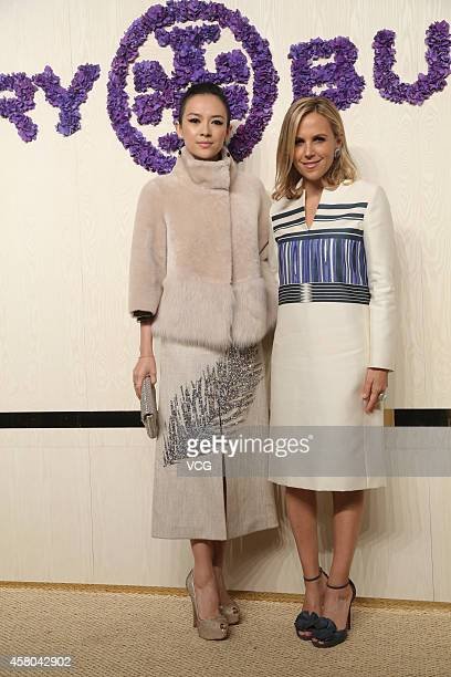 Actress Zhang Ziyi and designer Tory Burch attend Tory Burch flagship store opening ceremony at Kerry Center on October 29 2014 in Shanghai China