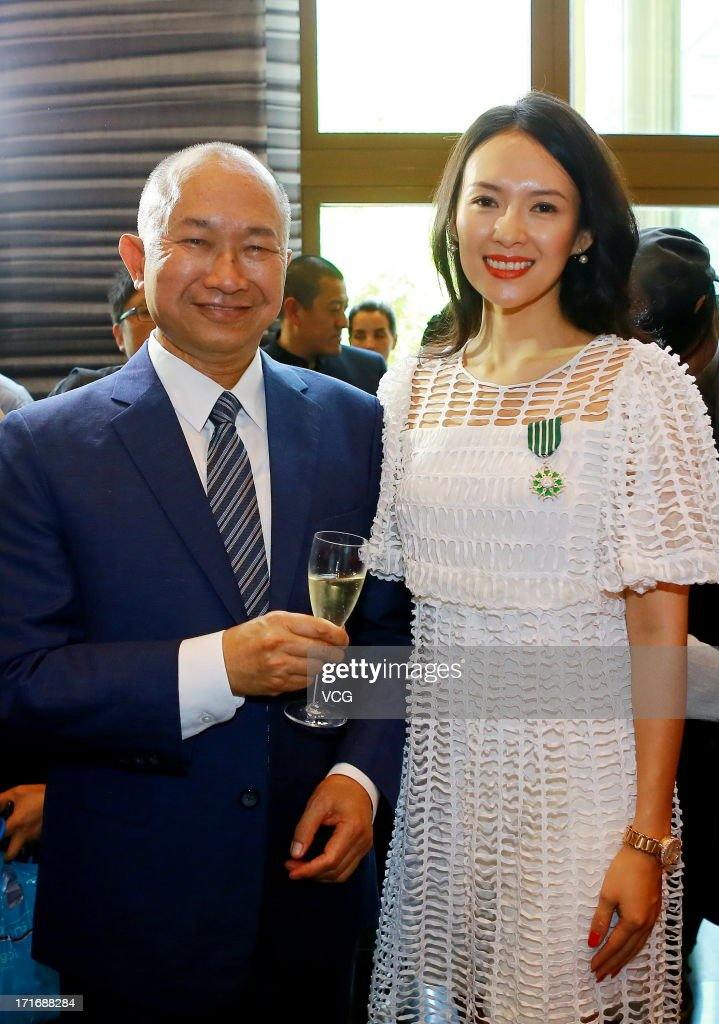 Actress Zhang Ziyi and director John Woo attend the 'Chevalier De L'Ordre Des Arts Et Des Lettres' Awards at Embassy of France on June 27, 2013 in Beijing, China.