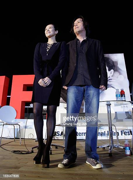 Actress Zhang Ziyi and director Lee ChangDong attend the Open Talk at the Haeundae beach during the 17th Busan International Film Festival at the...