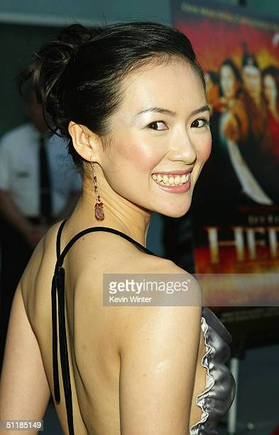 """Actress Zhang Ziyi arrives at the premiere of Miramax's """"Hero"""" at the Arclight Theater on August 17, 2004 in Los Angeles, California."""
