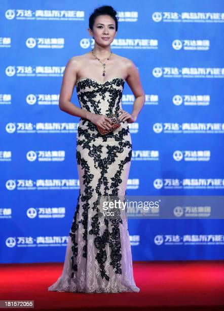 Actress Zhang Ziyi arrives at the red carpet during the opening night of the Qingdao Oriental Movie Metropolis at Qingdao Beer City on September 22...