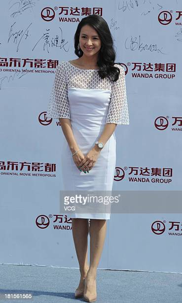 Actress Zhang Ziyi attends a launching ceremony for the Qingdao Oriental Movie Metropolis on September 22 2013 in Qingdao China