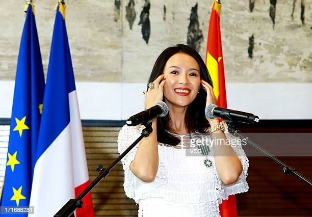 Actress Zhang Ziyi attends the 'Chevalier De L'Ordre Des Arts Et Des Lettres' Awards at Embassy of France on June 27 2013 in Beijing China