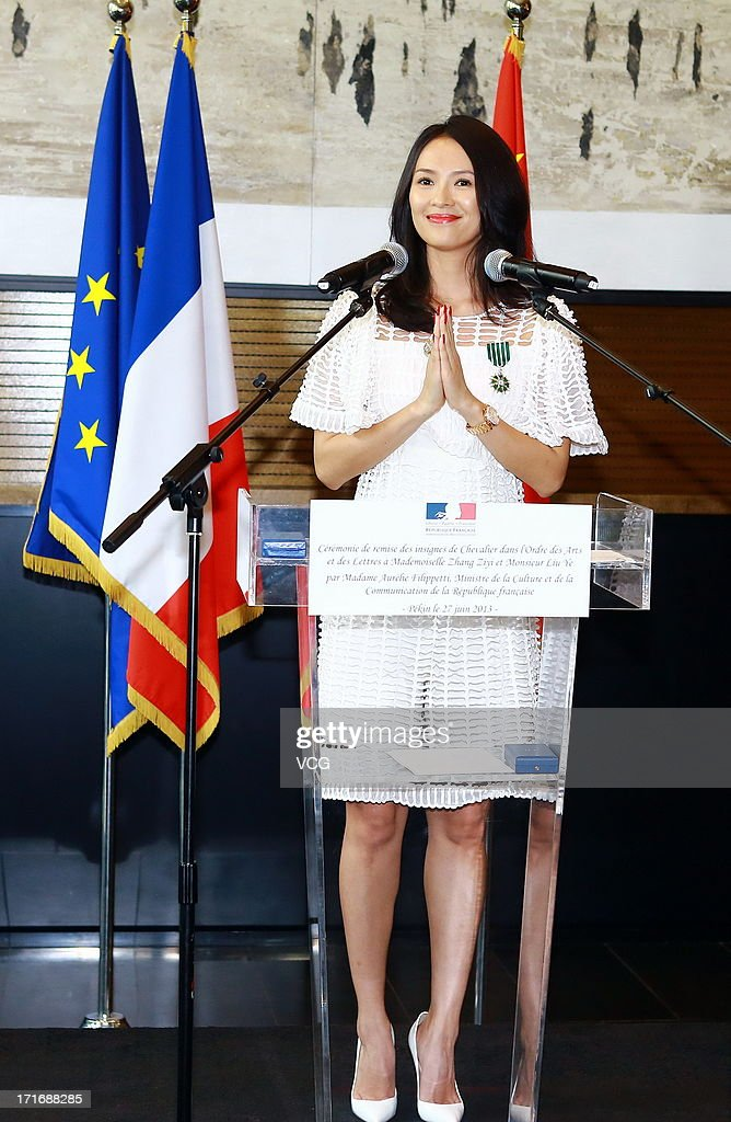 Actress Zhang Ziyi attends the 'Chevalier De L'Ordre Des Arts Et Des Lettres' Awards at Embassy of France on June 27, 2013 in Beijing, China.