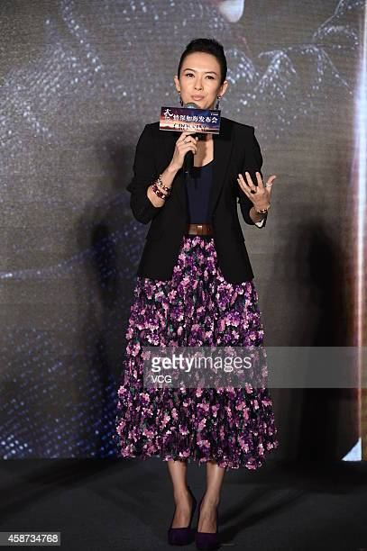 Actress Zhang Ziyi attends the director John Woo's new movie 'The Crossing' press conference on November 10 2014 in Beijing China