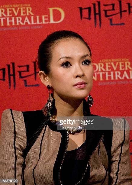 Actress Zhang Ziyi attends the Forever Enthralled press screening at Wangshimni CGV on March 24 2009 in Seoul South Korea The film will open on April...