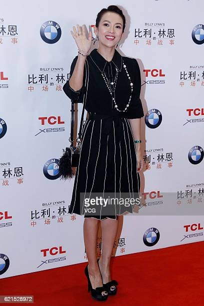 Actress Zhang Ziyi attends the premiere of director Ang Lee's film 'Billy Lynn's Long Halftime Walk' on November 6 2016 in Beijing China