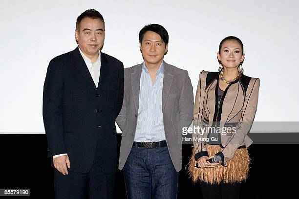 Actress Zhang Ziyi director Chen Kaige and actor Leon Lai attend the Forever Enthralled Press Screening at Wangshimni CGV on March 24 2009 in Seoul...