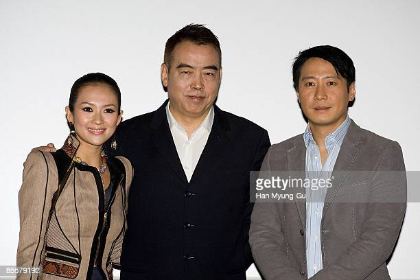 Actress Zhang Ziyi director Chen Kaige and actor Leon Lai attends the Forever Enthralled Press Screening at Wangshimni CGV on March 24 2009 in Seoul...