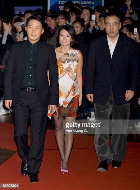 Actress Zhang Ziyi director Chen Kaige and actor Leon Lai attends the Forever Enthralled South Korea Premiere at Wangshimni CGV on March 25 2009 in...