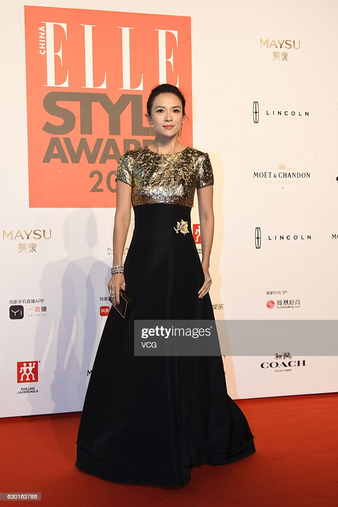 Actress Zhang Ziyi poses at the red carpet of 2016 ELLE Style Awards ceremony on December 16, 2016 in Shanghai, China.