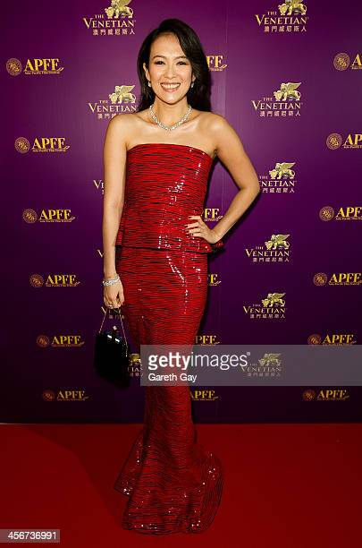 Actress Zhang Ziyi walks the red carpet to attend the awards ceremony during the last day of the 56th Asia Pacific Film Festival at The Venetian...
