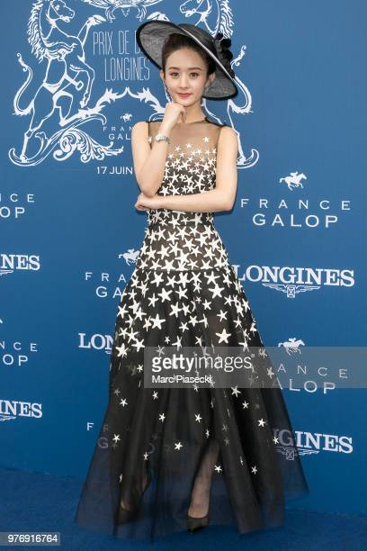 Actress Zhao Liying attends the Prix de Diane Longines 2018 at Hippodrome de Chantilly on June 17 2018 in Chantilly France