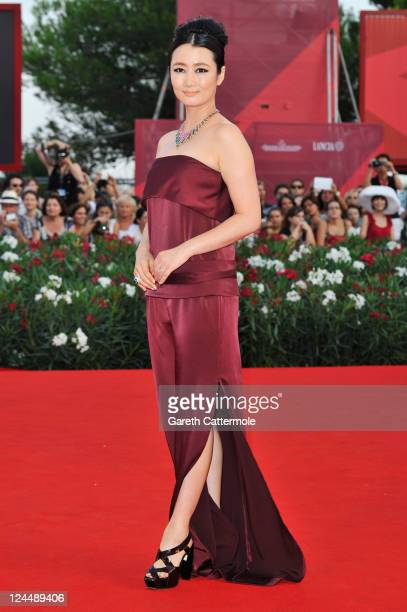 Actress Zhao Tao attends the Damsels In Distress premiere and closing ceremony during the 68th Venice Film Festival at Palazzo del Cinema on...