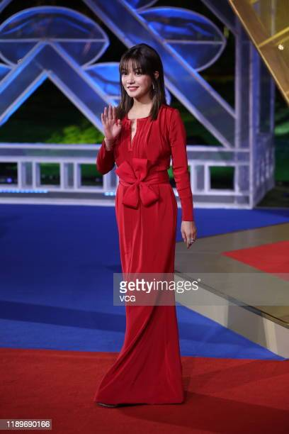 Actress Zhao Wei attends the closing ceremony of the 28th China Golden Rooster And Hundred Flowers Film Festival on November 23 2019 in Xiamen Fujian...