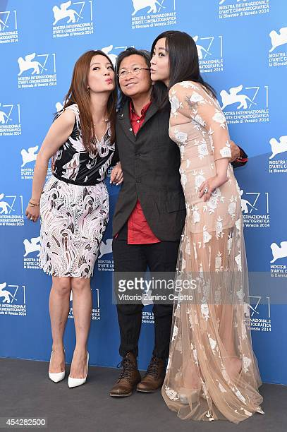 Actress Zhao Wei director Peter Hosun Chan and actress Lei Hao attend the Dearest photocall during the 71st Venice Film Festival on August 28 2014 in...