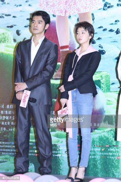 Actress Zhou Dongyu and actor Takeshi Kaneshiro attend the press conference of film This is not What I Expected on April 24 2017 in Shanghai China