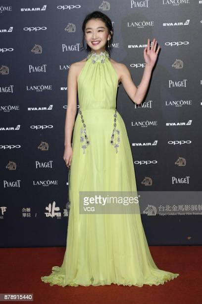 Actress Zhou Dongyu arrives at the red carpet of the 54th Golden Horse Awards Ceremony on November 25 2017 in Taipei Taiwan of China