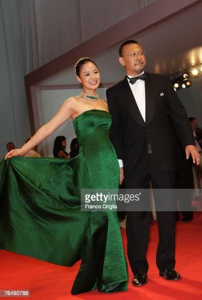 Actress Zhou Yun and director Jiang Wen attend Taiyang Zhaochang Shengqi premiere in Venice during day 6 of the 64th Venice Film Festival on...