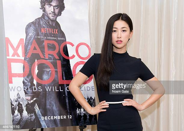 Actress Zhu Zhu attends the 'Marco Polo' New York City press junket at Mandarin Oriental Hotel on December 1 2014 in New York City
