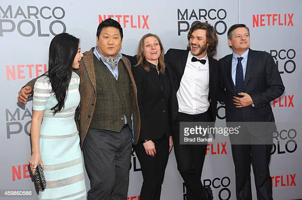 Actress Zhu Zhu Benedict Wong Cindy Holland Lorenzo Richelmy and Ted Sarandos attend the Marco Polo New York Series Premiere at AMC Lincoln Square...