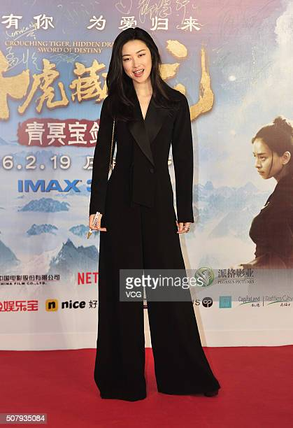 Actress Zhu Zhu poses on red carpet during the premiere of director Yuen Wooping's film 'Crouching Tiger Hidden Dragon The Green Destiny' on February...