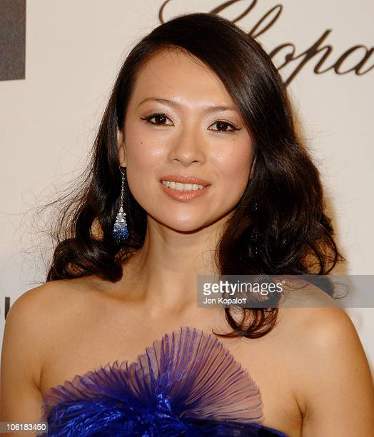 Actress Ziyi Zhang attends the 16th Annual Elton John AIDS Foundation Oscar Party at the Pacific Design Center on February 24 2008 in West Hollywood...