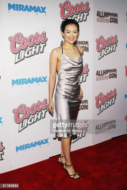 """Actress Ziyi Zhang attends the film premiere of """"Hero"""" at the Arclight Theater on August 17, 2004 in Hollywood, California. The film """"Hero"""" opens..."""