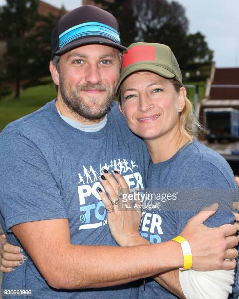 Actress Zoe Bell and Jacob Vaughn attend the Power Of Tower run/walk at UCLA on March 11 2018 in Los Angeles California