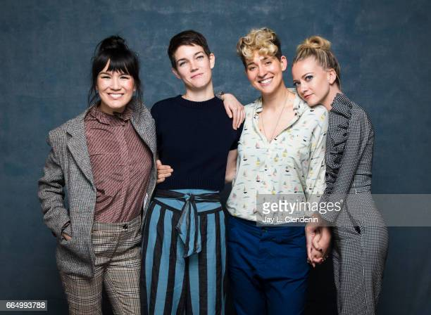 Actress Zoe Chao codirector Celia RowlsonHall codirector Mia Lidofsky and actress Meredith Hagner from the television movie Strangers are...