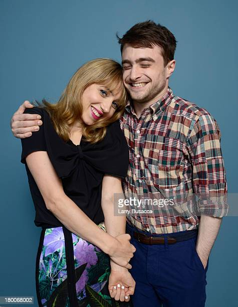 Actress Zoe Kazan and actor Daniel Radcliffe of 'F Word' pose at the Guess Portrait Studio during 2013 Toronto International Film Festival on...