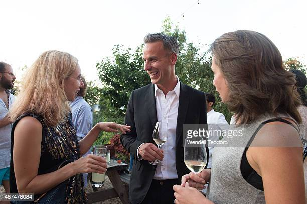 Actress Zoe Kazan and Adam Rapoport and Pamela Drucker Mann are photographed during the cocktail reception before the Rachel Comey fashion show at...