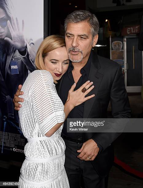 Actress Zoe Kazan and producer George Clooney attend the premiere of Warner Bros Pictures' Our Brand Is Crisis at TCL Chinese Theatre on October 26...