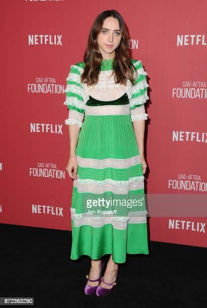 Actress Zoe Kazan arrives at SAGAFTRA Foundation Patron of the Artists Awards 2017 on November 9 2017 in Beverly Hills California