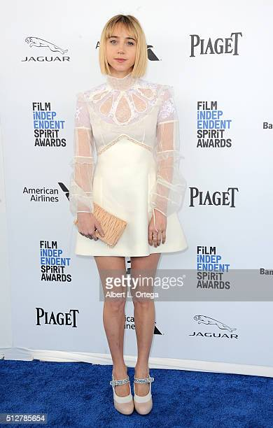 Actress Zoe Kazan arrives for the 2016 Film Independent Spirit Awards held on February 27 2016 in Santa Monica California