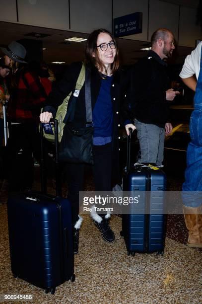 Actress Zoe Kazan leaves the Salt Lake City International Airport on January 18 2018 in Salt Lake City Utah