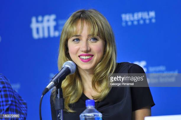 Actress Zoe Kazan speaks at The F Word' Press Conference during the 2013 Toronto International Film Festival at TIFF Bell Lightbox on September 8...