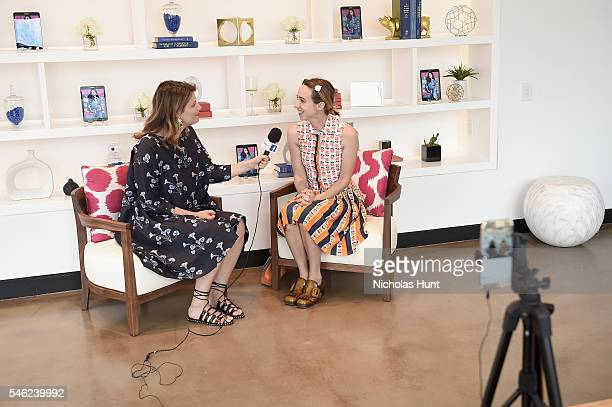 Actress Zoe Kazan speaks to Facebook Live during a luncheon hosted by Glamour and Facebook to discuss the 2016 election at Samsung 837 in NYC on July...