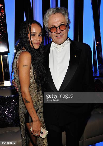 Actress Zoe Kravitz and director George Miller attend The 2016 InStyle and Warner Bros 73rd annual Golden Globe Awards PostParty at The Beverly...