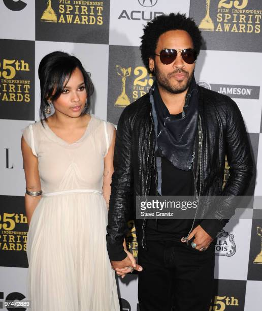 Actress Zoe Kravitz and Musician Lenny Kravitz arrives at the 25th Film Independent Spirit Awards held at Nokia Theatre LA Live on March 5 2010 in...