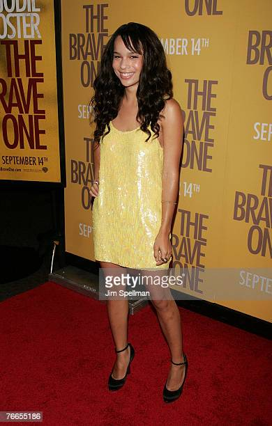 Actress Zoe Kravitz arrives at The Brave One Premiere at the Rose Theater at Time Warner Center on September 10 2007 in New York City