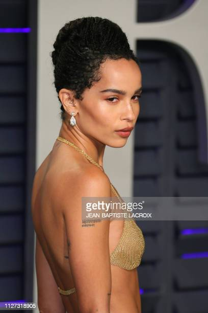 US actress Zoe Kravitz attends the 2019 Vanity Fair Oscar Party following the 91st Academy Awards at The Wallis Annenberg Center for the Performing...