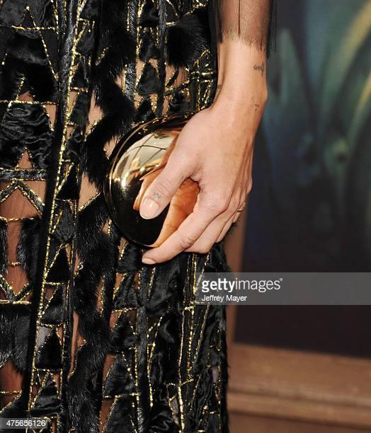 Actress Zoe Kravitz handbag detail at the Mad Max Fury Road Los Angeles Premiere at TCL Chinese Theatre IMAX on May 7 2015 in Hollywood California
