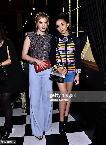 Actress Zoe Levin and actress Rowan Blanchard attend the I Love Coco Backstage Beauty Lounge at Chateau Marmont's Bar Marmont on February 25 2016 in...