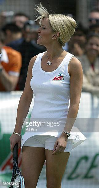 Actress Zoe Lucker in action at the Ariel Celebrity Tennis Match held in Trafalgar Square on June 13 2005 in London England