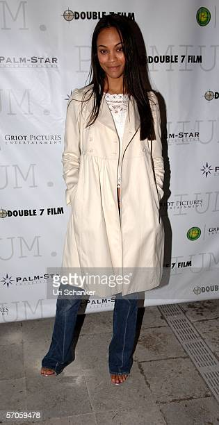 Actress Zoe Saladana poses at the party for the film 'Premium' at the Shore Club on March 11 2006 in Miami Beach Florida