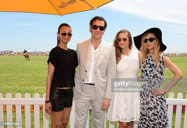 Actress Zoe Saldana, actor Clive Owen, actress Minka Kelly and stylist Rachel Zoe pose at the VIP Marquee during the fifth Annual Veuve Clicquot Polo...