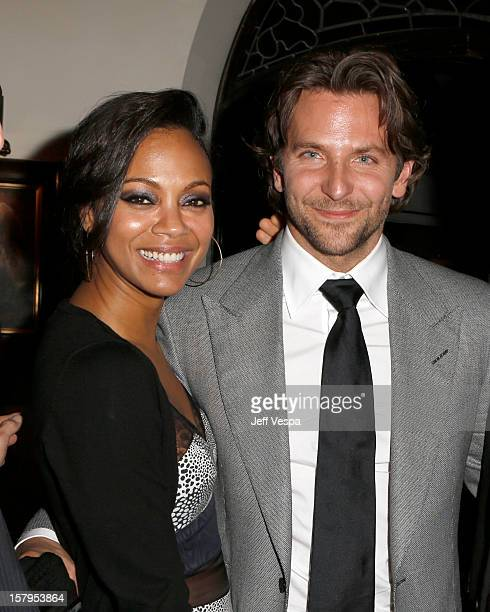 Actress Zoe Saldana and actor Bradley Cooper attend the SILVER LININGS PLAYBOOK Event Hosted By Lexus And Purity Vodka at Chateau Marmont on December...