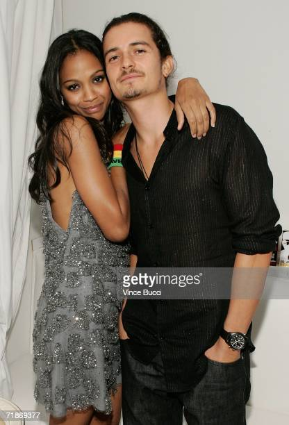 Actress Zoe Saldana and actor Orlando Bloom attend the after party for Yari Film Group's Haven at the Privilege Night Club on September 12 2006 in...